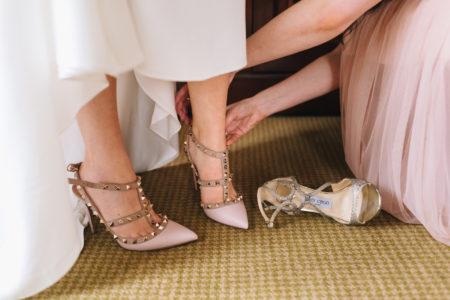 scarpe tacco borchie